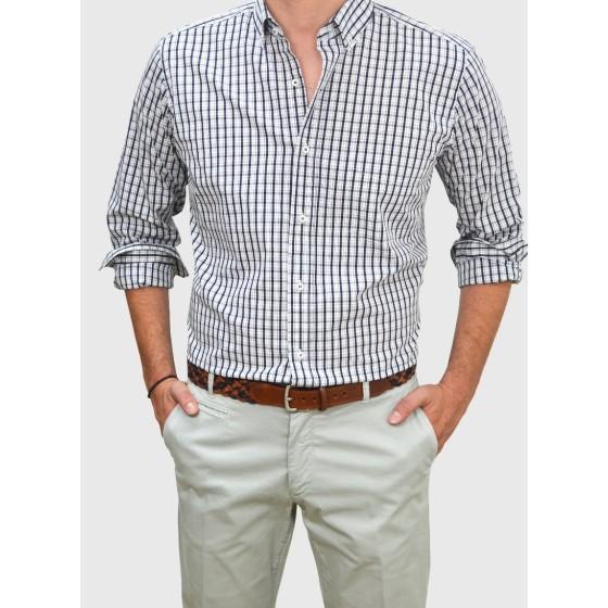 Ανδρικό καρό πουκάμισο λευκό με μπλέ RAIM Q688-MS / S18