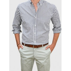 Men's shirt white and blue checked