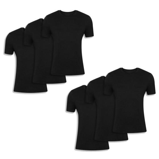 Ανδρικές βαμβακερές κοντομάνικες φανέλες 6 τεμάχια μαύρο χρώμα 042-6