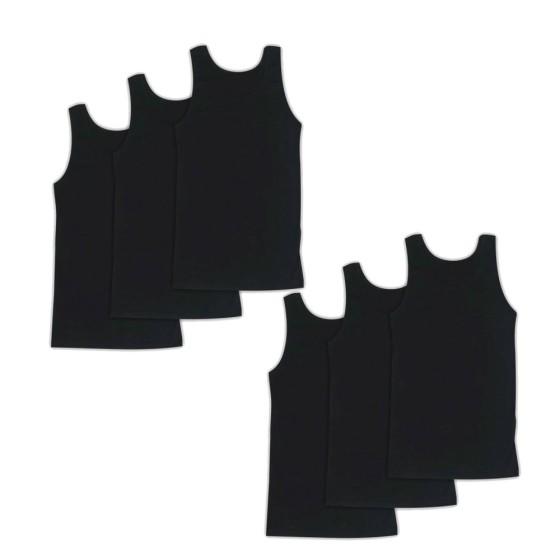 Ανδρικές βαμβακερές φανέλες τιράντα 6 τεμάχια μαύρο χρώμα 023-6