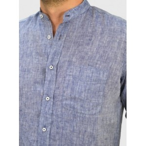 Men's Linen stand up collar  blue RΑΙΜ Q680-MS