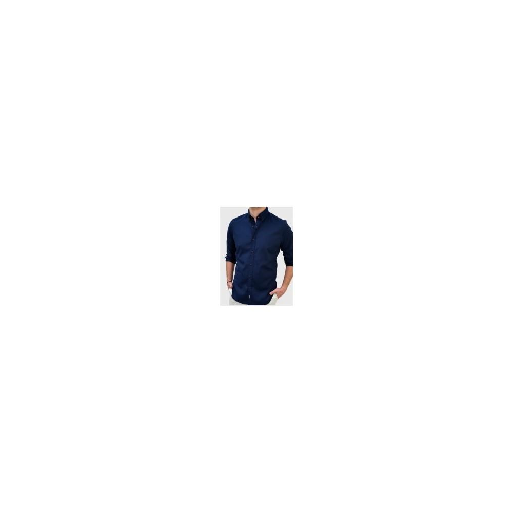 Ανδρικό Oxford πουκάμισο slim fit μπλέ Q607-MS d71b2bd1162