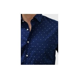 Men's Blue shirt with patterns  Q662-MB