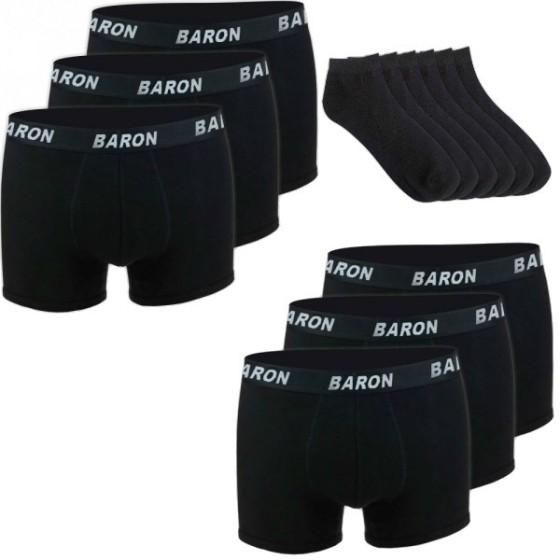 Βαμβακερά ανδρικά μαύρα εσώρουχα μπόξερ & μαύρες κάλτσες EM018-1601X2