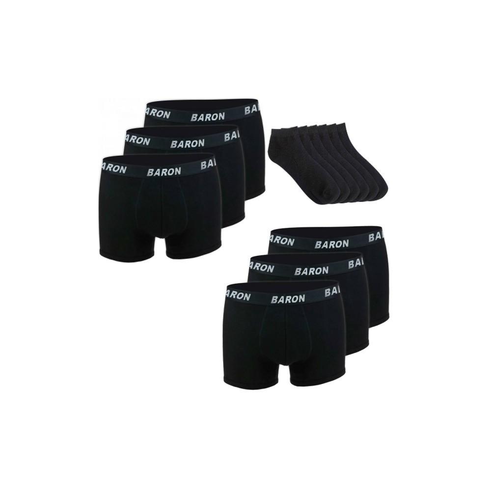 Βαμβακερά ανδρικά μαύρα εσώρουχα μπόξερ   μαύρες κάλτσες EM018-1601X2 e8a95ba1a60