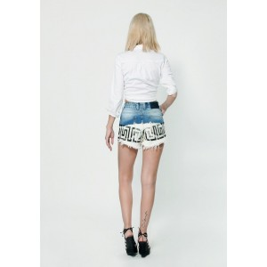 Women denim Short  Mom 702 Printed Detail