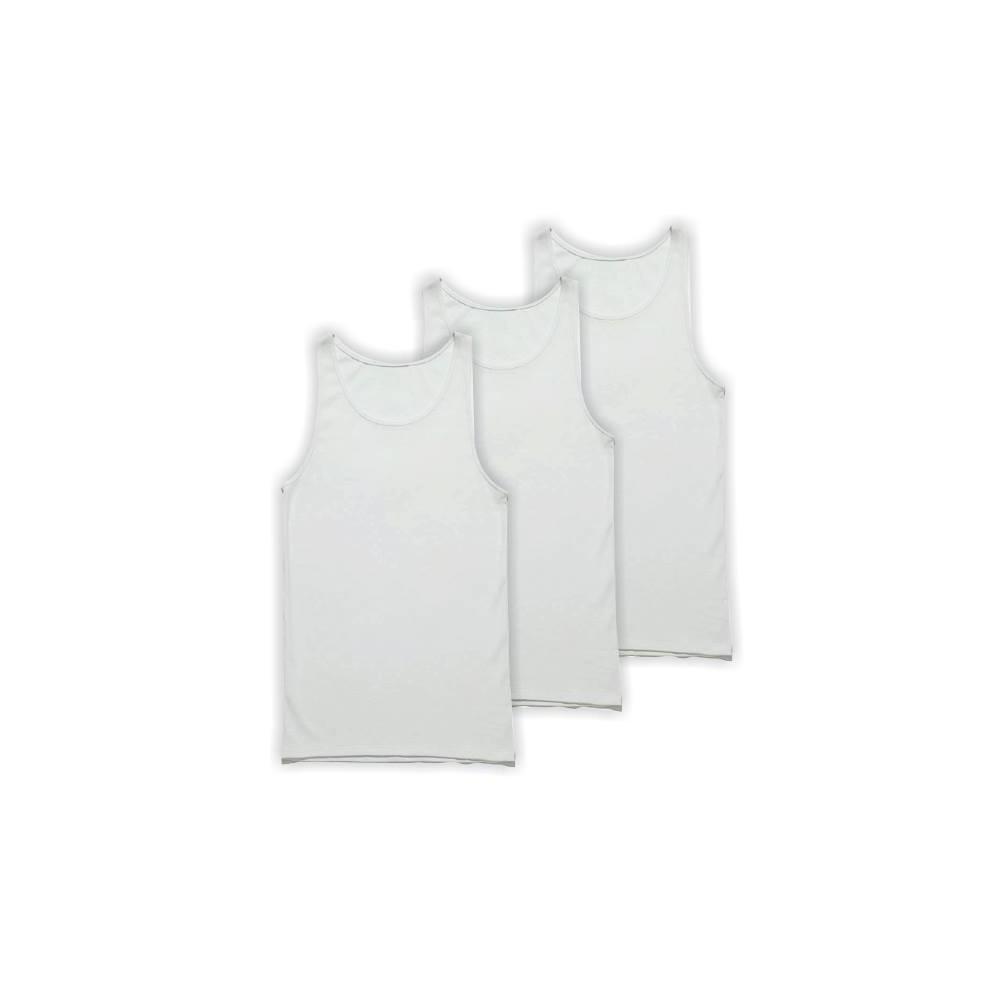 Ανδρικά φανελάκια τιράντα λευκά βαμβακερά 3 τεμάχια Fan 1970W-3pack / W18
