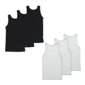 Men's 6 tanktop Pack 3 Black & 3 White 1970BW-6pack