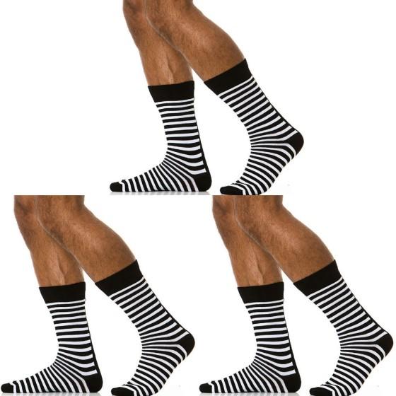 3 pack ανδρικές κάλτσες ριγέ μαύρες