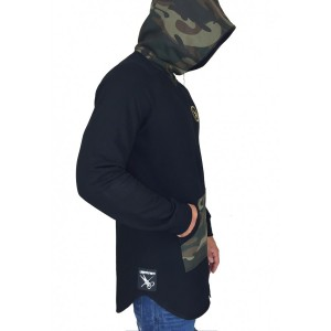 Men's Zipper Black Army Hoodie