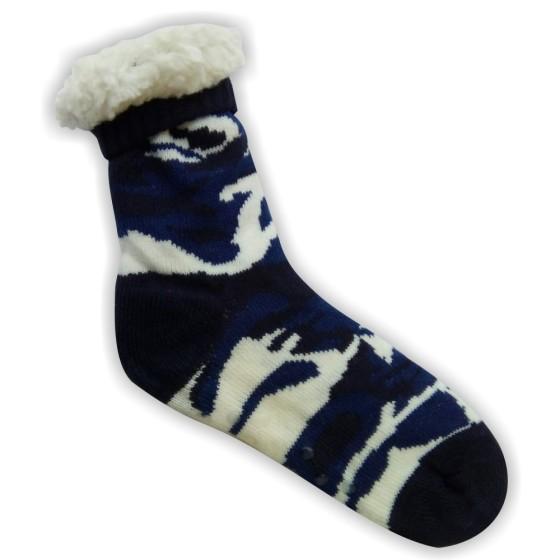 Κάλτσες ανδρικές επένδυση γούνα παραλλαγής μπλέ