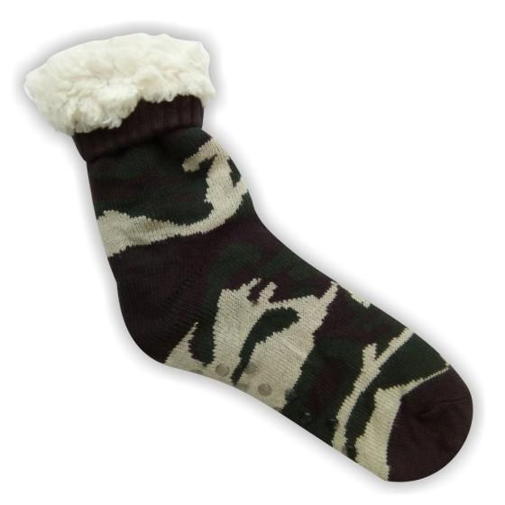 Κάλτσες ανδρικές επένδυση γούνα παραλλαγής καφέ