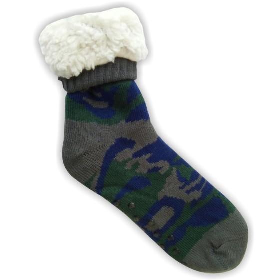 Κάλτσες ανδρικές επένδυση γούνα παραλλαγής πράσινο