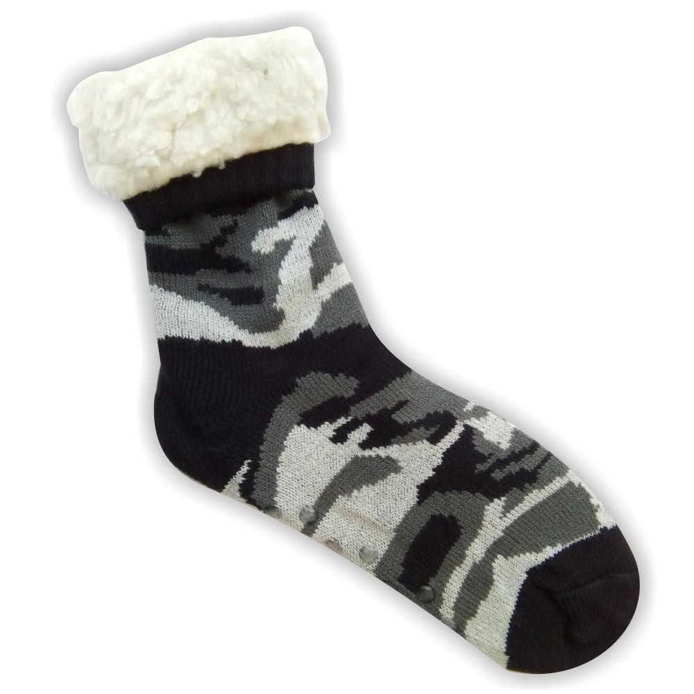 Κάλτσες ανδρικές επένδυση γούνα παραλλαγής μαύρο