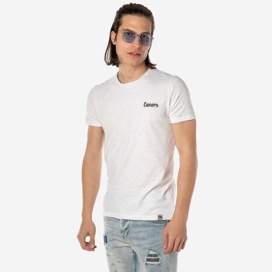 19001-935-05-WHITE ΑΝΔΡΙΚΟ T-SHIRT CAMARO ΛΕΥΚΟ ΜΕ ΣΧΕΔΙΟ ΣΤΗΝ ΠΛΑΤΗ