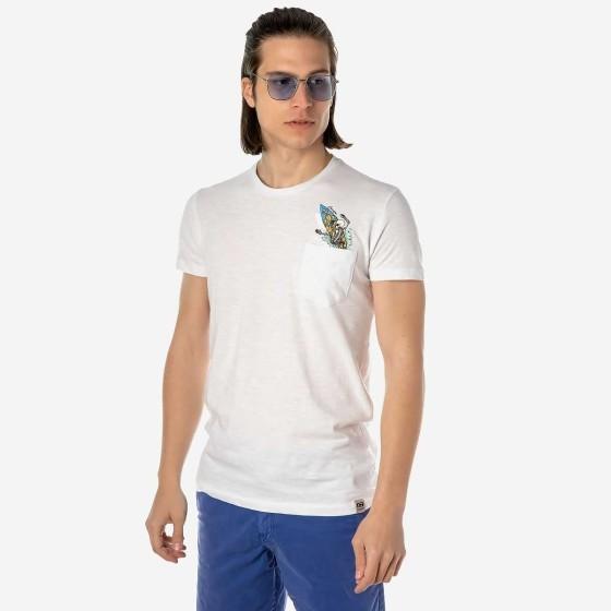 19001-927-05-WHITE ΑΝΔΡΙΚΟ T-SHIRT CAMARO ΛΕΥΚΟ ΜΕ TRENDY ΤΣΕΠΑΚΙ