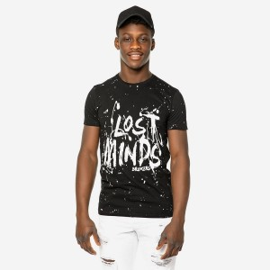 19012-214-01-BLACK ΑΝΔΡΙΚΟ T-SHIRT BROKERS ΜΑΥΡΟ LOST MINDS