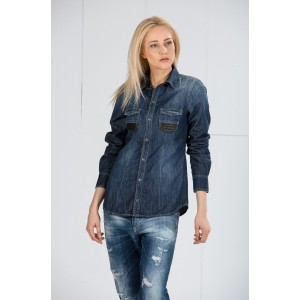 Denim shirt with leather