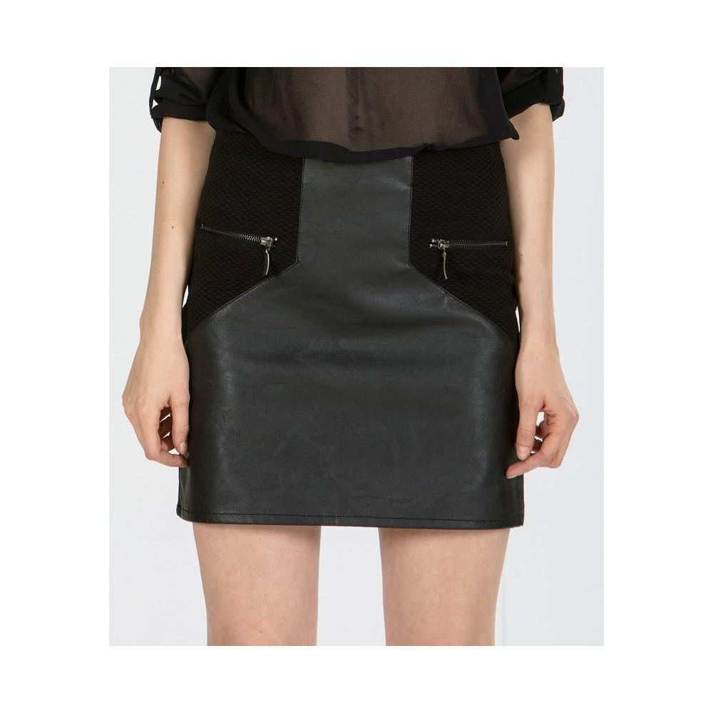 Mini eco-leather skirt