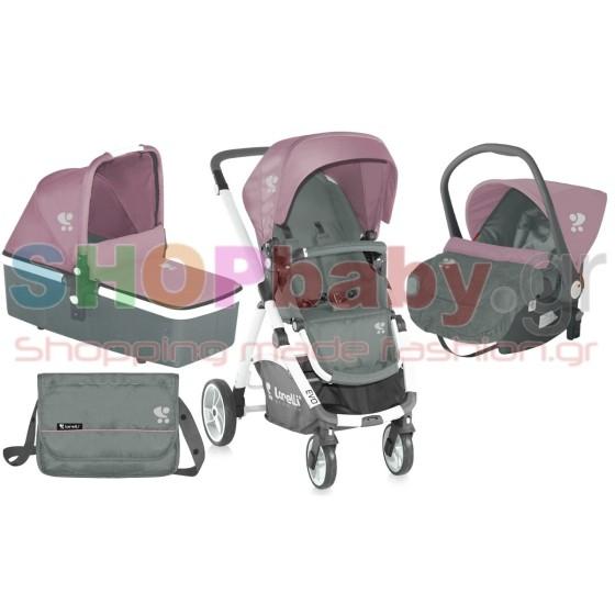Παιδικό καροτσι EVO 3 σε 1 - Γκρί & Ροζ