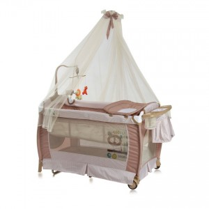 Baby Cot SLEEP 'N' DREAM 2 Layers Plus Rocker Toy Bar - Beige