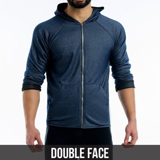 Indigo double face hoodie