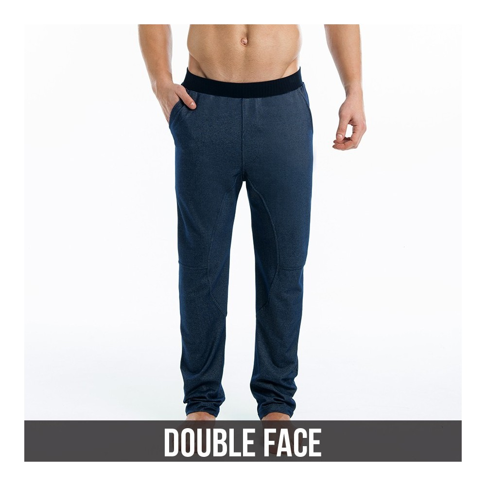 indigo double face pants