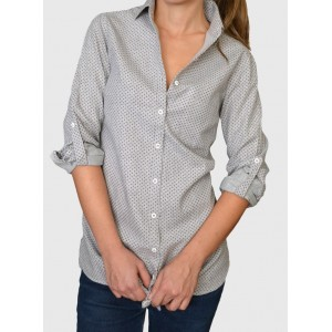 Grey flannel shirt with dots